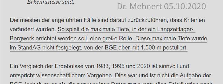""">>> Herr Dr. Mehnert äussert sich zu der mangelnden, von der BGE mbH selbst """"postulierten"""" Tiefe der Geologien im Zwischenbericht - #DrMehnert #Kritik #Tiefe #Geologien #BGE #Zwischenbericht"""