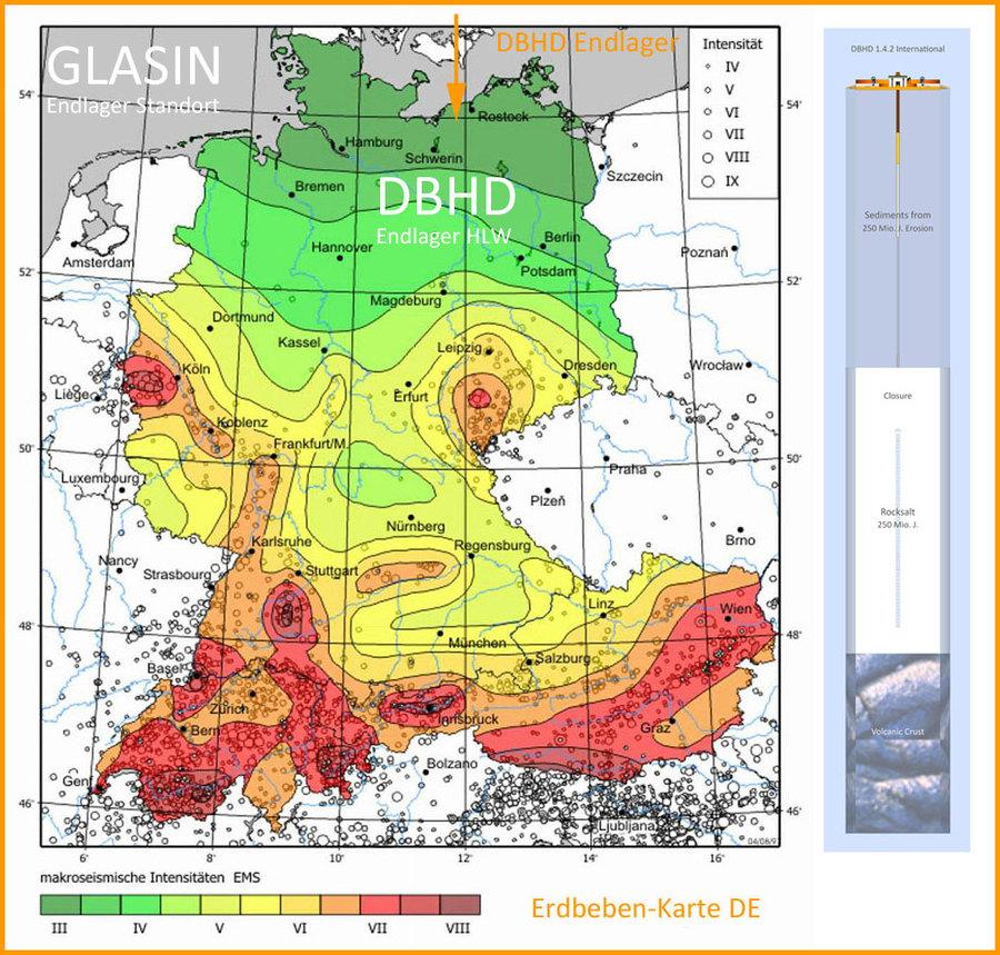 DBHD Endlager in der Erdbeben-Zonen-Karte Deutschland
