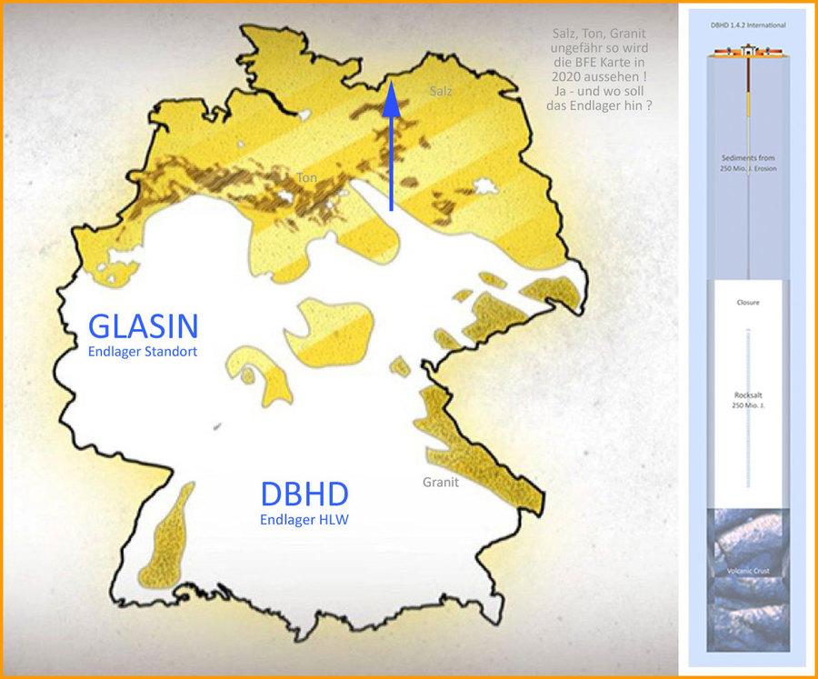 Verteilung Wirtsgesteine für Endlager in Deutschland - aber nur Stand AG relevant