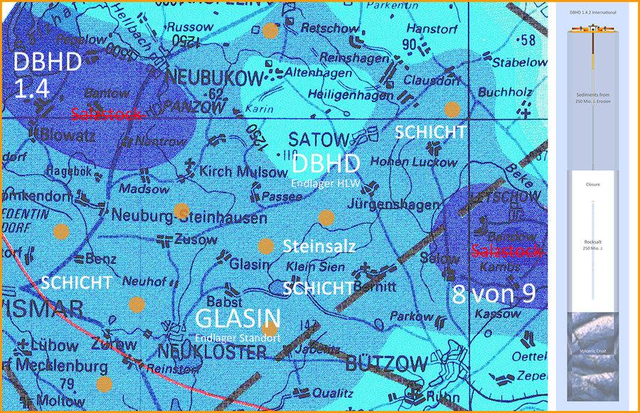 Einzel-Standorte DBHD Endlager in der geologischen Karte des Zechsteinmeeres