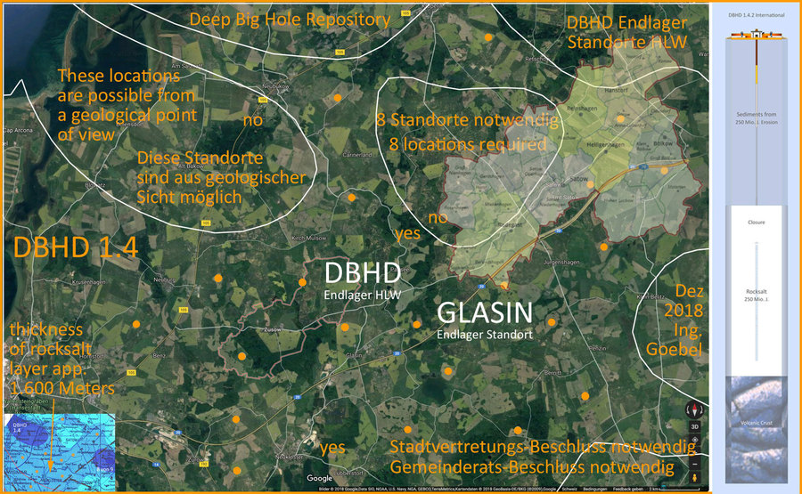 DBHD Endlager Standorte Deutschland im Satellitenbild