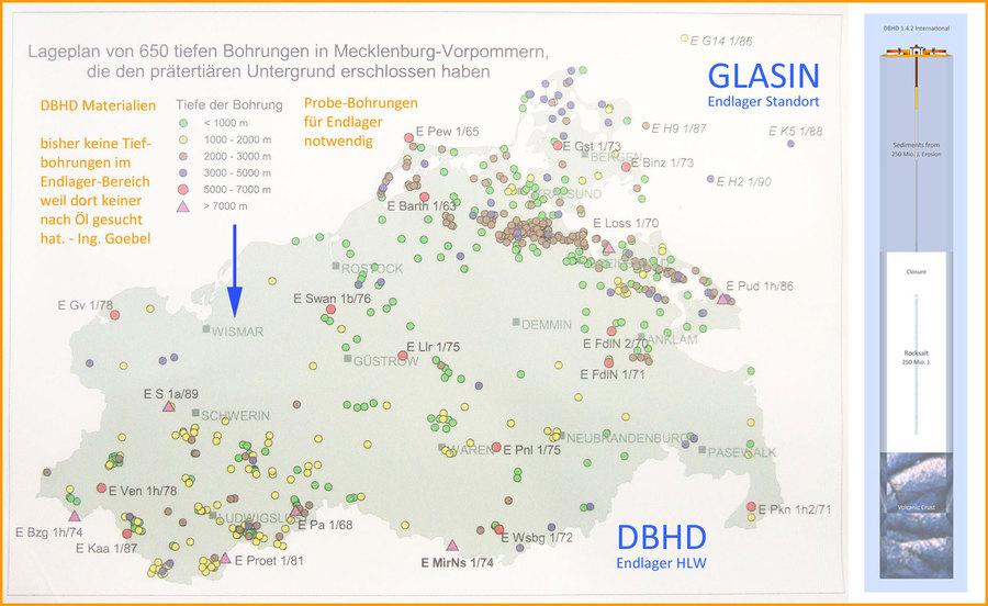 Karte mit allen Tiefbohrungen in Mecklenburg-Vorpommern Endlager Suche