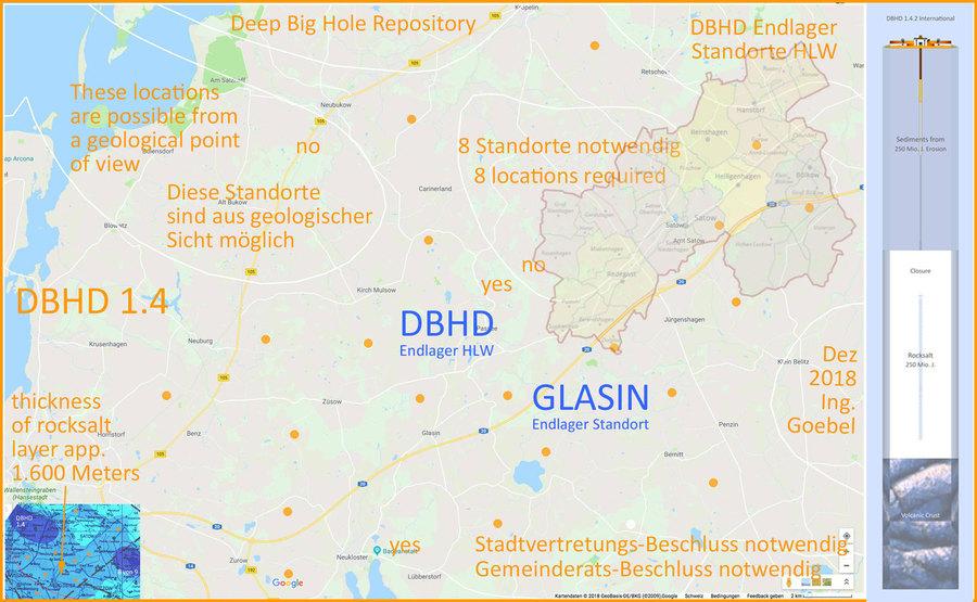 DBHD Endlager Standorte Deutschland in einer Strassenkarte