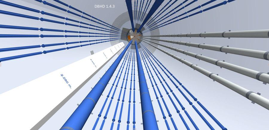 Blick in den auf D = 20 Meter aufgesägten Einlagerungs-Bereich