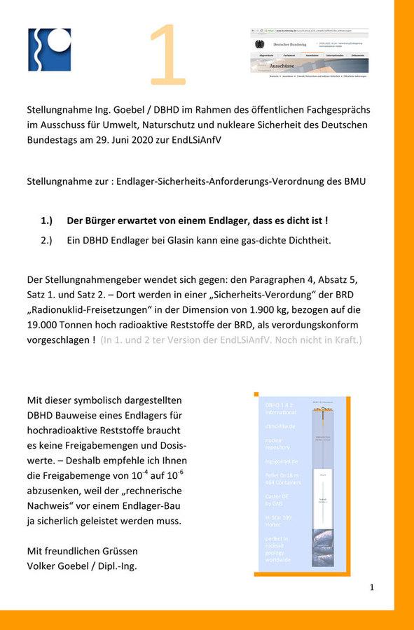 Offizielle Stellungnahme Ing. Goebel zur EndLSiAnfVerordnung