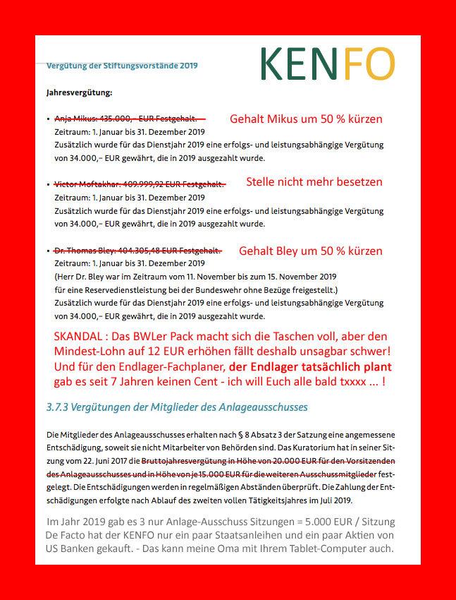 >>> KENFO Geschäftsführungs-Gehälter um 50 % kürzen - ein paar Staatsanleihen und ein paar US Bank Aktien kaufen kann auch meine Oma mit Ihrem Tablett-PC #KENFO #Leistungslos #Schwach