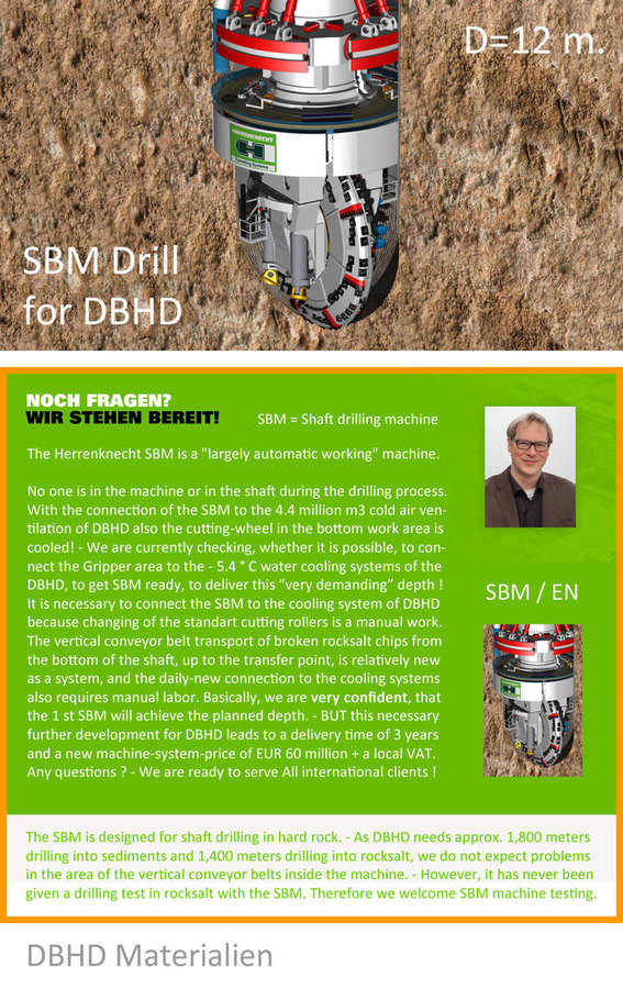 >>> SBM is going to be connected to DBHD cooling systems - new price now 60 Mio. EUR + VAT - new delivery time 3 years, after 50 % deposit #SBM #DBHD #Herrenknecht #GDF #DEAL #DeepBigHoleDisposal #X.XX
