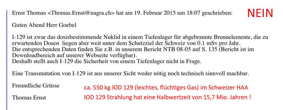 Anteil IOD 129 im Schweizer Atommüll - Keine Freisetzung erlauben