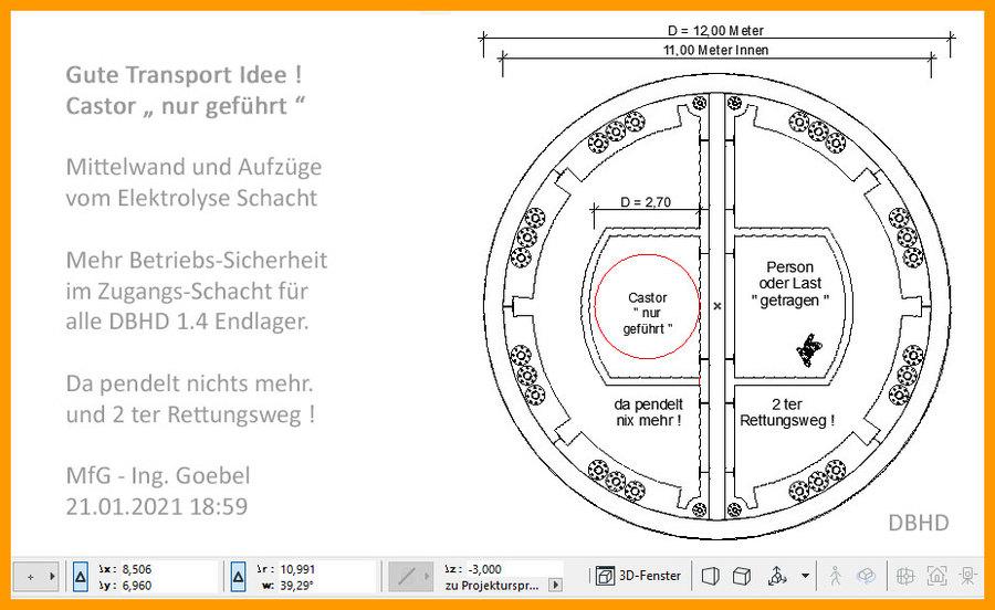 """>>> Geniale Idee - Castor-Transport """"geführt"""" - Teile vom Grundriss Elektrolyse enthalten Technologien, die auf der Endlager-Baustelle notwendig sind - #Grundriss #DBHD #Castor #Geführt #ZugangsSchacht"""