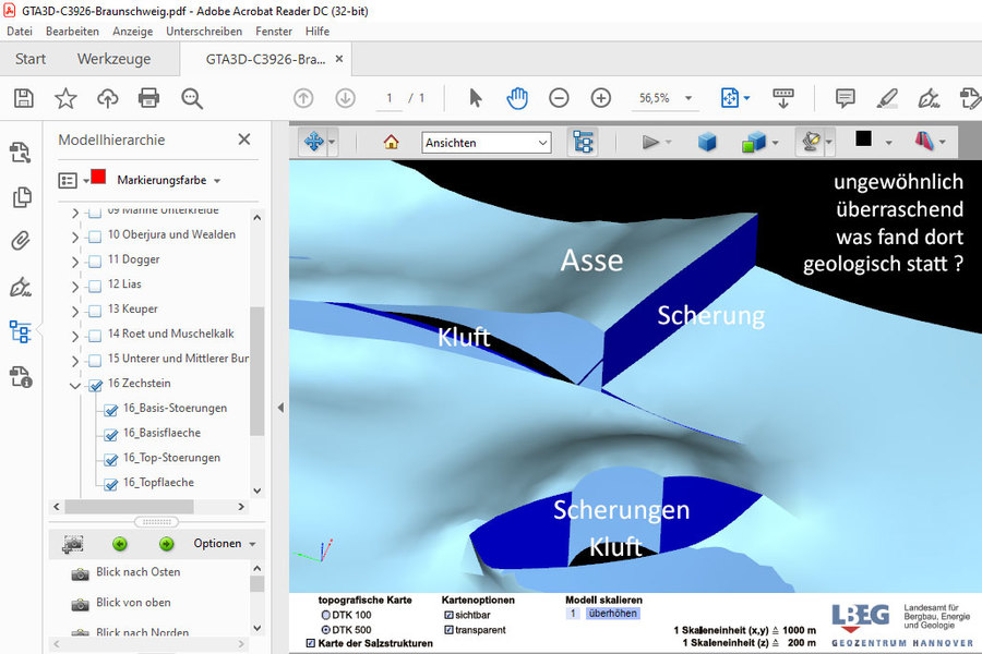 Asse Steinsalz bei Wolfenbüttel - Quelle LBEG Geologie Daten 3D Model