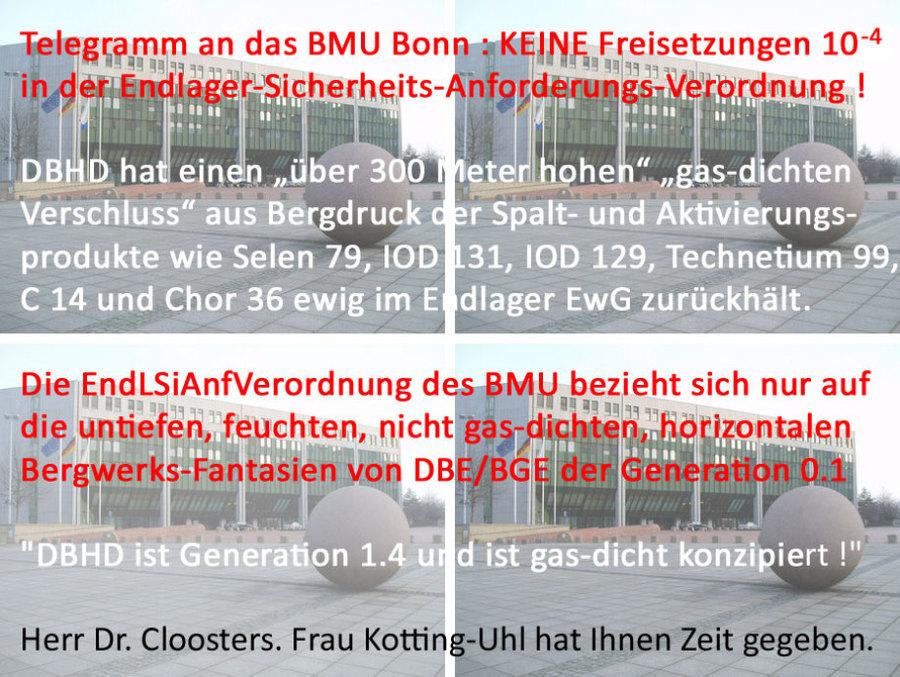 Das Warn-Telegram von Ing. Goebel ans BMU Bonn