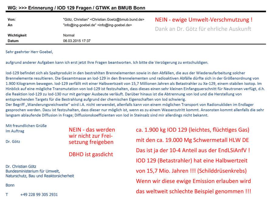 Altere Email von Dr. Götz BMU der die IOD 120 Menge beziffert